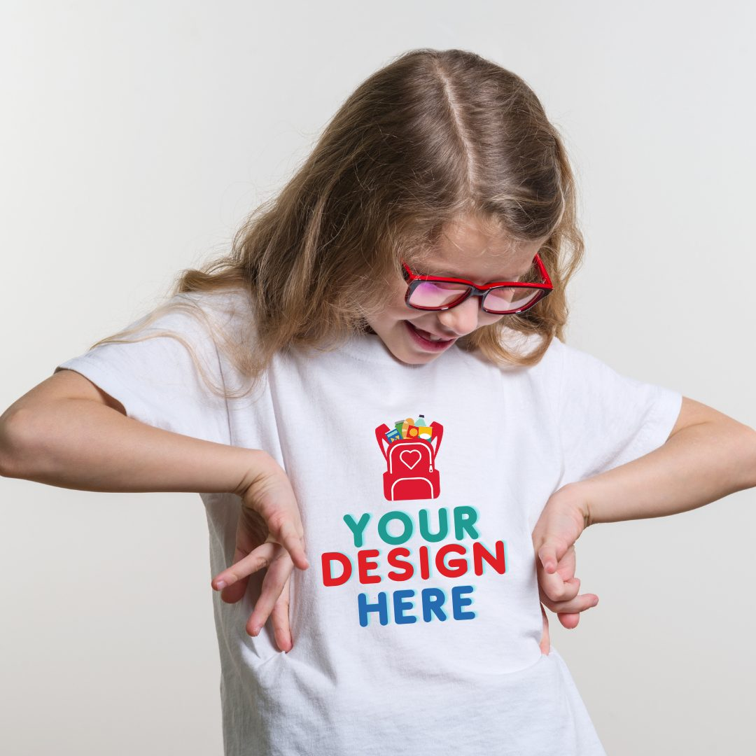 picture of girl looking down at her shirt